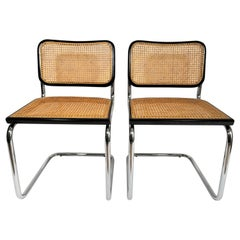 Marcel Breuer Cesca Black Pair of Side Chairs Midcentury