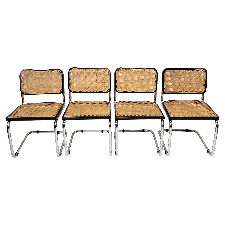 Marcel Breuer Cesca Black Side Chairs 1960s Mid Century