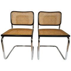 Marcel Breuer Cesca Black Side Chairs Midcentury