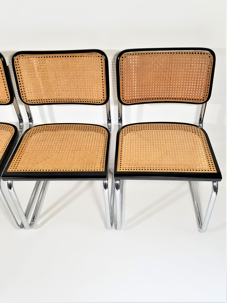 Marcel Breuer Cesca Black Side Chairs Midcentury Set of 4 In Good Condition In New York, NY