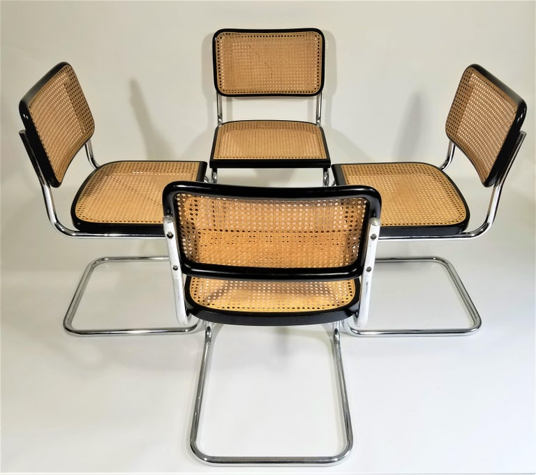 20th Century Marcel Breuer Cesca Black Side Chairs Midcentury Set of 4