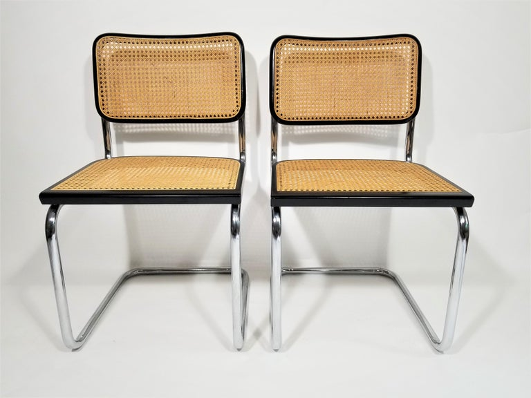 Cane Marcel Breuer Cesca Black Side Chairs Midcentury Set of 4