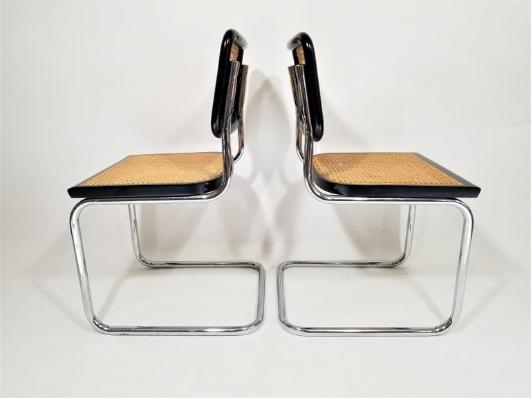 Marcel Breuer Cesca Black Side Chairs Midcentury Set of 4 1