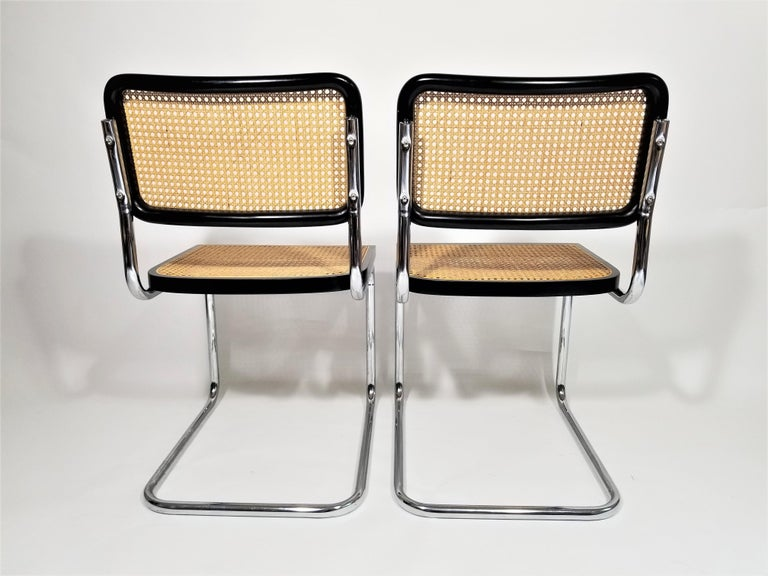 Marcel Breuer Cesca Black Side Chairs Midcentury Set of 4 2