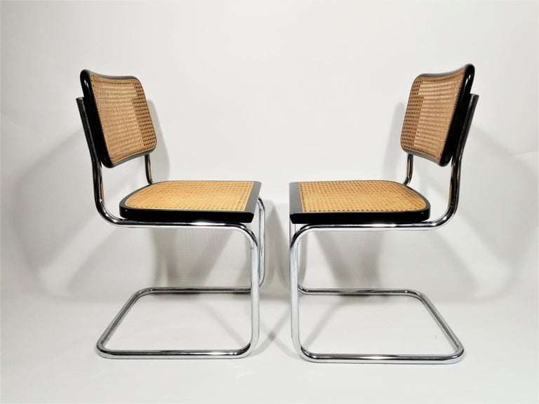 Marcel Breuer Cesca Black Side Chairs Midcentury Set of 4 3