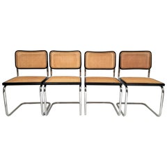 Marcel Breuer Cesca Black Side Chairs Midcentury Set of 4