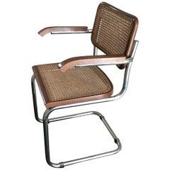 Marcel Breuer Cesca Chair for Gavina Wood Metal Crome, 1980, Italy