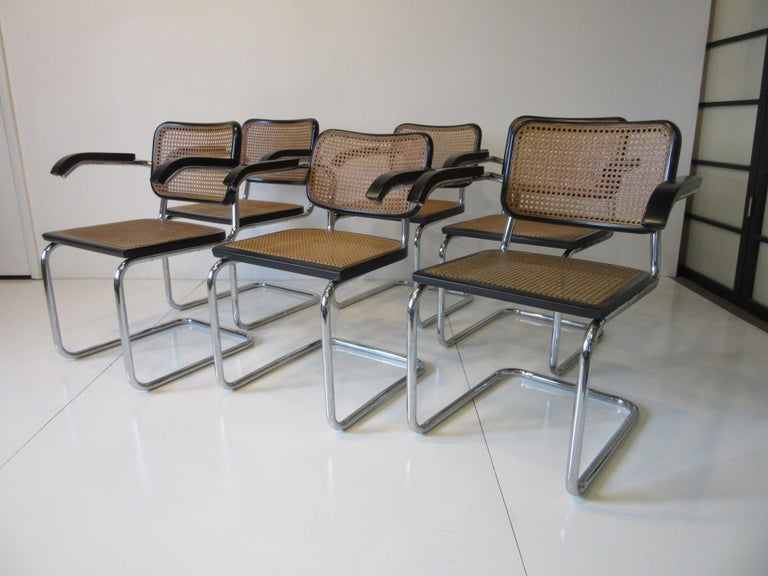 Marcel Breuer Cesca Dining Armchairs Made in Italy For Sale 3