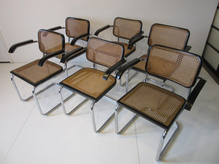 Marcel Breuer Cesca Dining Armchairs Made in Italy For Sale 4