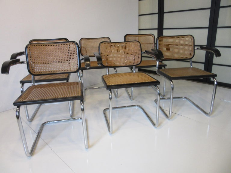 Marcel Breuer Cesca Dining Armchairs Made in Italy For Sale 5