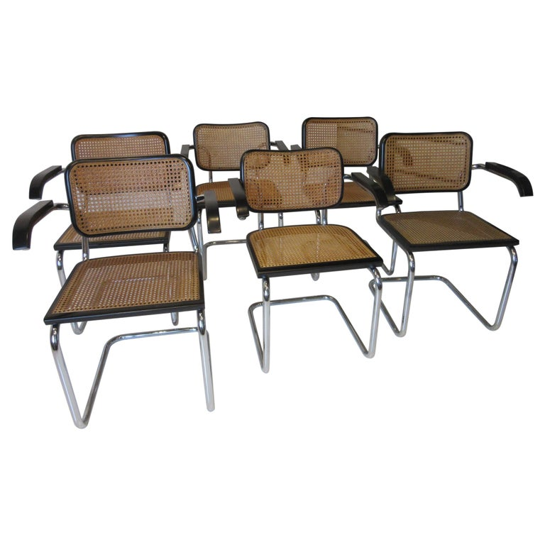 Marcel Breuer Cesca Dining Armchairs Made in Italy For Sale