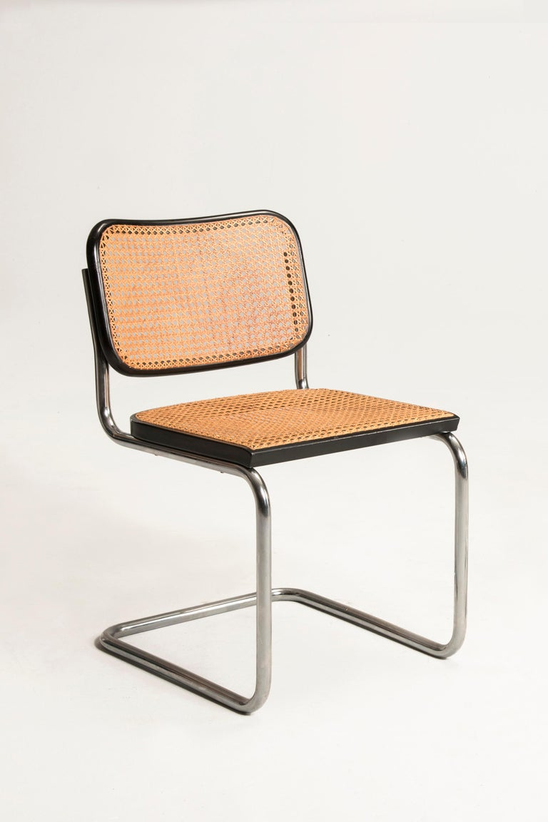 Bauhaus Marcel Breuer Straw Tubular Cesca Chairs for Gavina 1960s 6 Chairs + 2 Armchairs For Sale