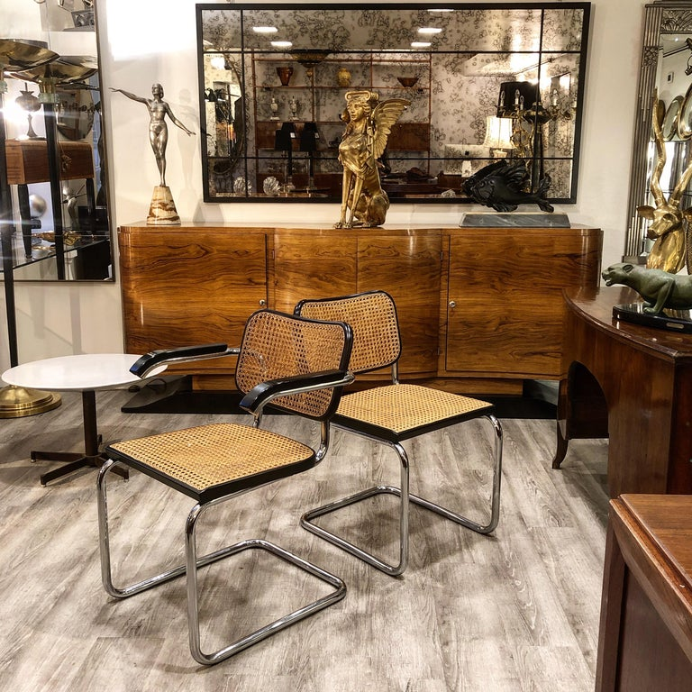 Marcel Breuer Straw Tubular Cesca Chairs for Gavina 1960s 6 Chairs + 2 Armchairs In Good Condition For Sale In Milano, IT