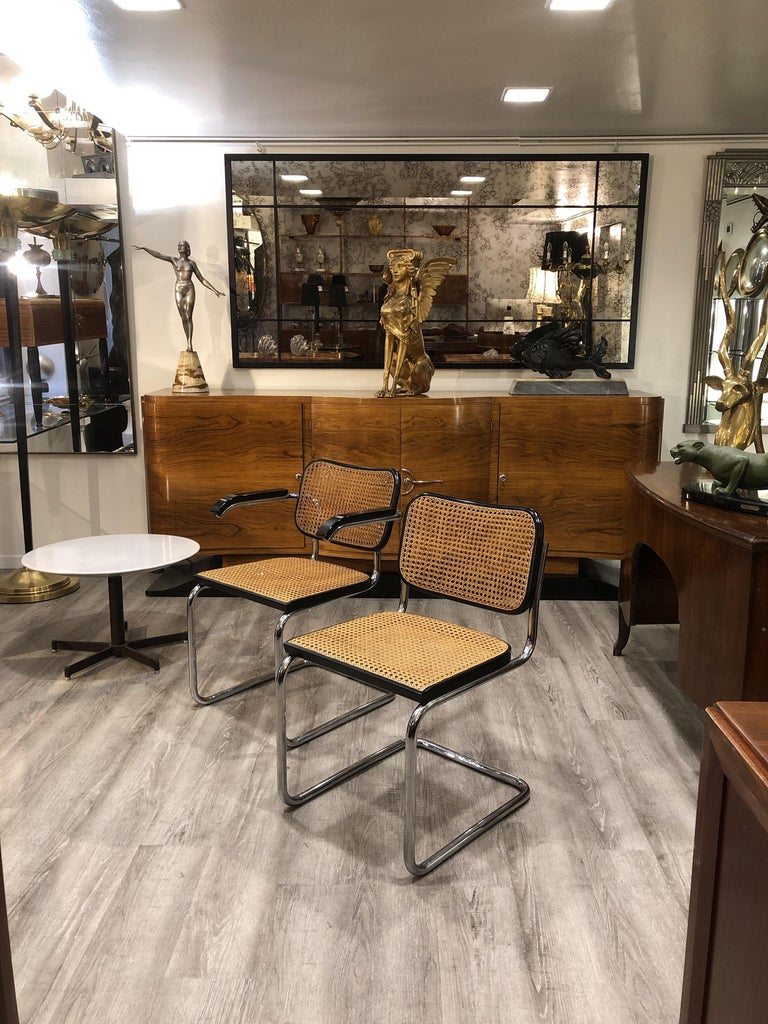 20th Century Marcel Breuer Straw Tubular Cesca Chairs for Gavina 1960s 6 Chairs + 2 Armchairs For Sale