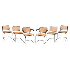 Marcel Breuer Straw Tubular Cesca Chairs for Gavina 1960s 6 Chairs + 2 Armchairs