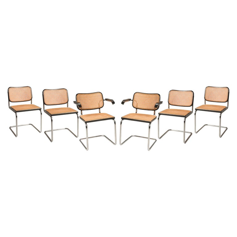 Marcel Breuer Straw Tubular Cesca Chairs for Gavina 1960s 6 Chairs + 2 Armchairs For Sale
