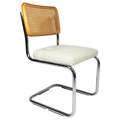 Marcel Breuer Cesca Side Chair Midcentury with White Upholstered Seat