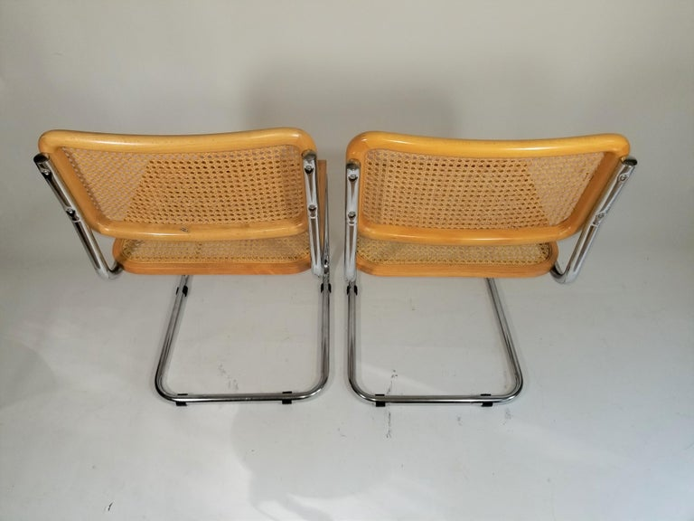 Marcel Breuer Cesca Side Chairs Midcentury Set of 2 For Sale 4