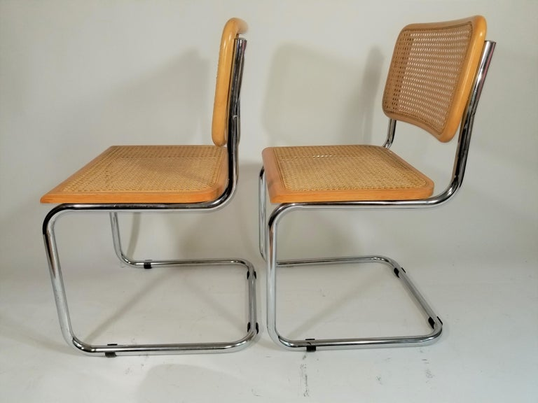 Marcel Breuer Cesca Side Chairs Midcentury Set of 2 For Sale 5