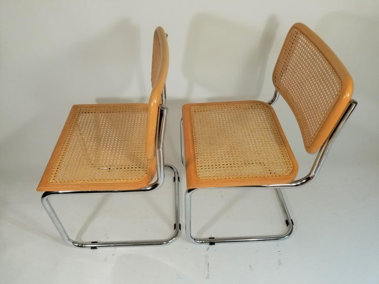 Marcel Breuer Cesca Side Chairs Midcentury Set of 2 For Sale 6