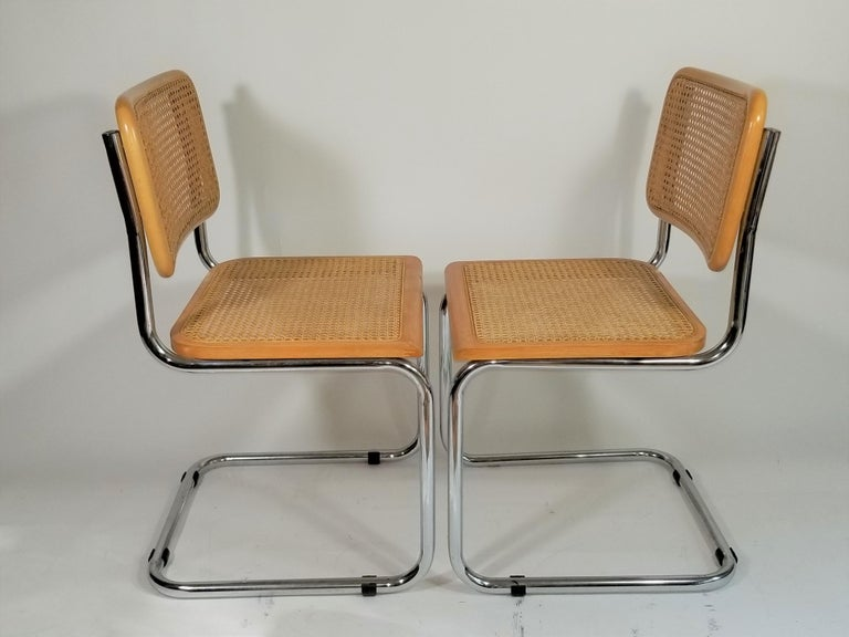 Marcel Breuer Cesca Side Chairs Midcentury Set of 2 For Sale 7