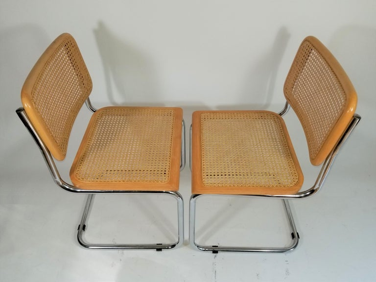Marcel Breuer Cesca Side Chairs Midcentury Set of 2 For Sale 8