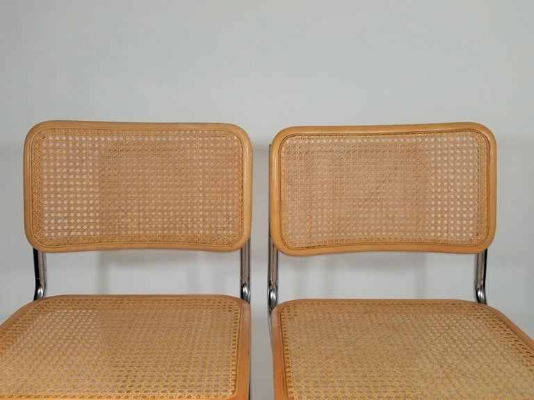 Caning Marcel Breuer Cesca Side Chairs Midcentury Set of 2 For Sale