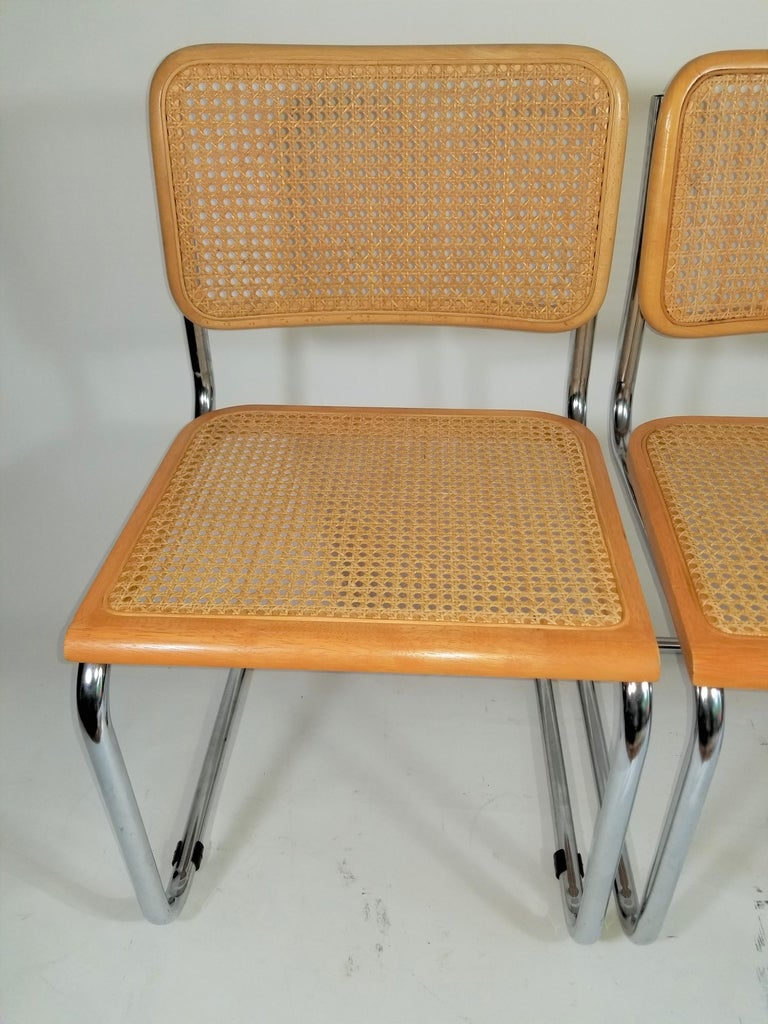20th Century Marcel Breuer Cesca Side Chairs Midcentury Set of 2 For Sale
