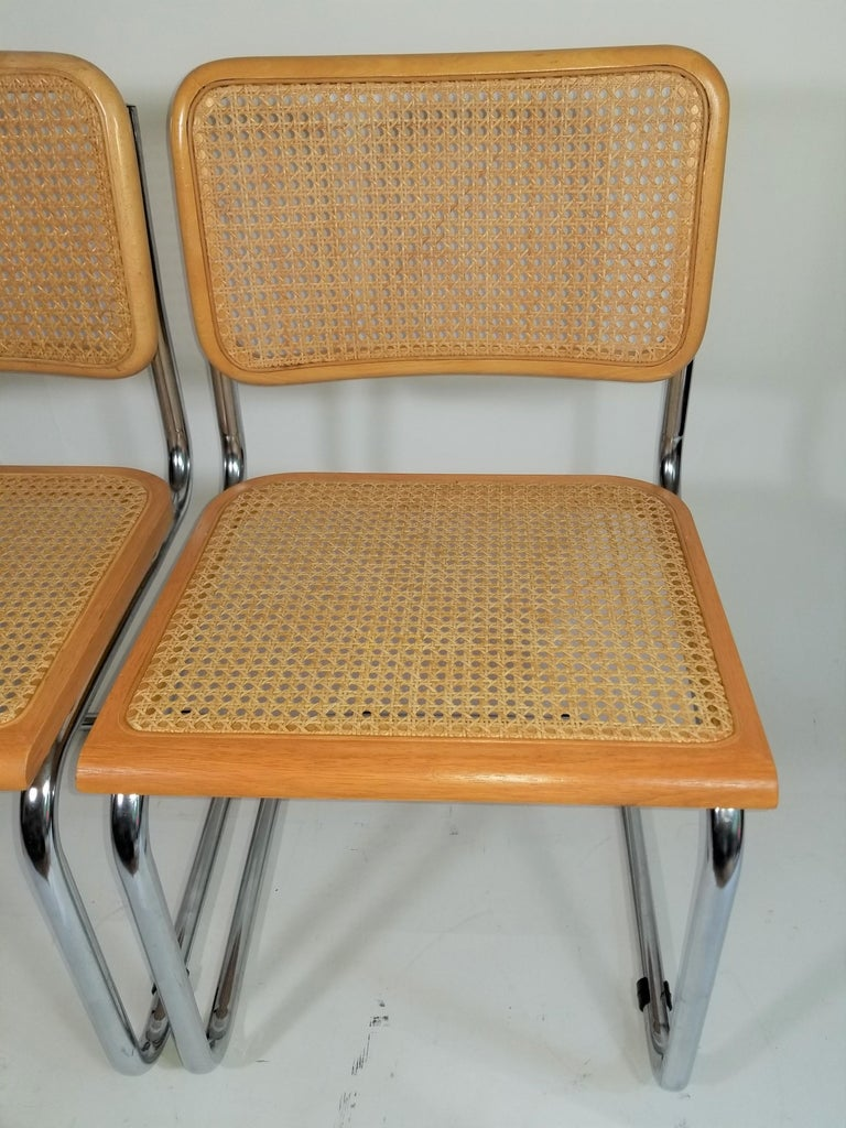 Cane Marcel Breuer Cesca Side Chairs Midcentury Set of 2 For Sale