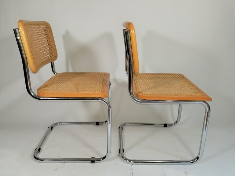 Marcel Breuer Cesca Side Chairs Midcentury Set of 2 For Sale 1