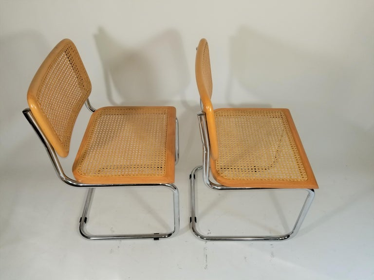 Marcel Breuer Cesca Side Chairs Midcentury Set of 2 For Sale 2