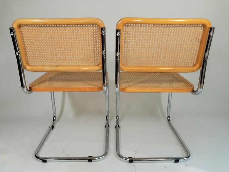 Marcel Breuer Cesca Side Chairs Midcentury Set of 2 For Sale 3