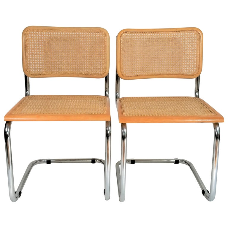 Marcel Breuer Cesca Side Chairs Midcentury Set of 2 For Sale
