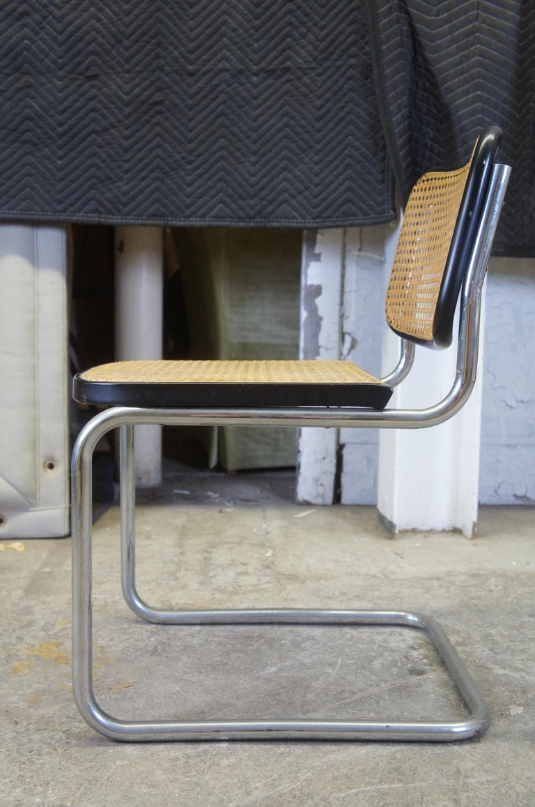 Marcel Breuer Cesca Stendig Mid Century Italian Caned Chrome Side Chair Thonet In Good Condition For Sale In Dayton, OH