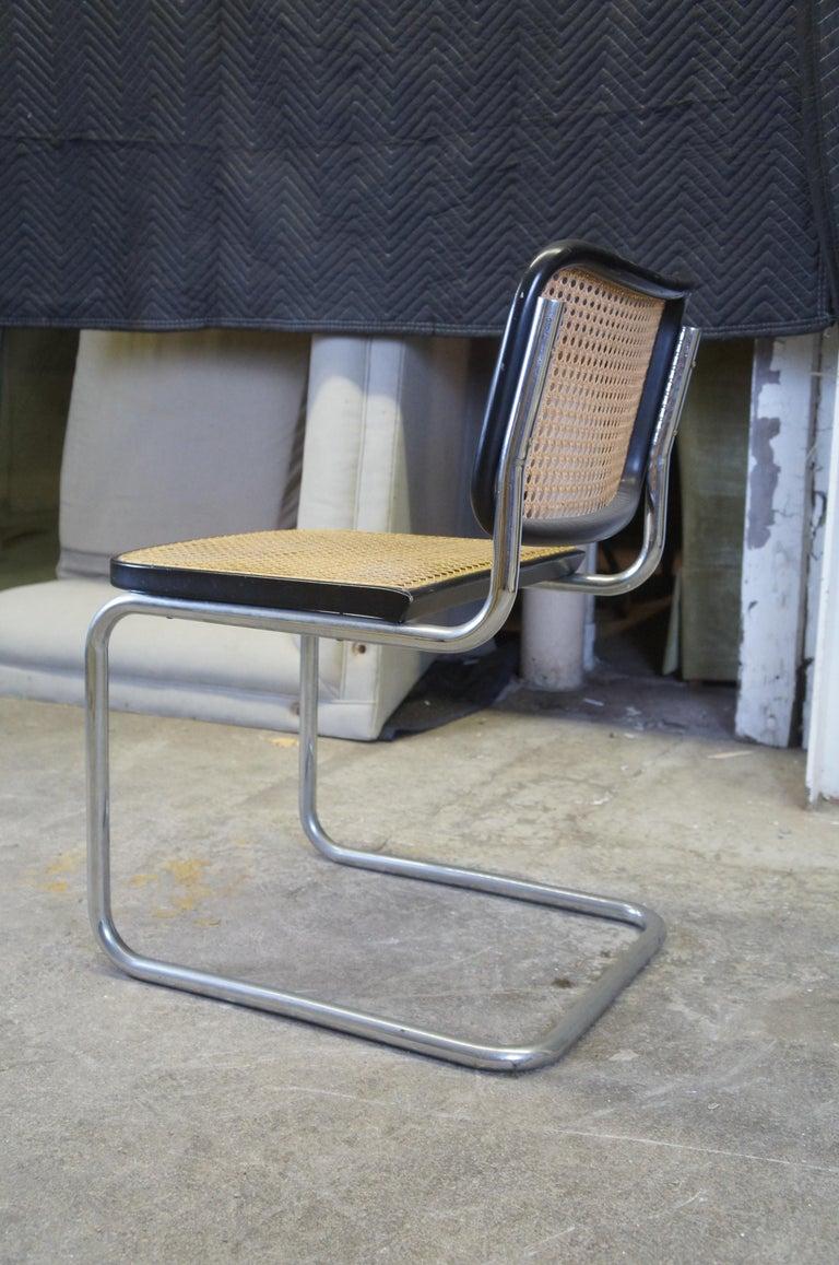 20th Century Marcel Breuer Cesca Stendig Mid Century Italian Caned Chrome Side Chair Thonet For Sale