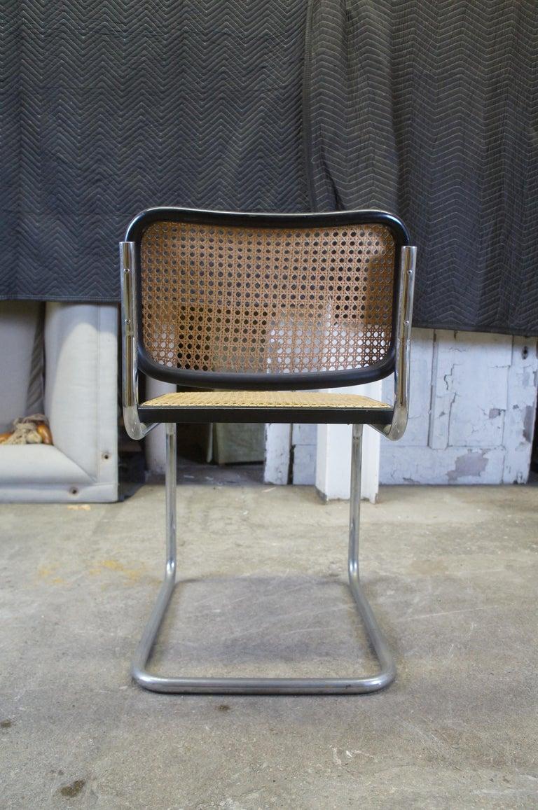Stainless Steel Marcel Breuer Cesca Stendig Mid Century Italian Caned Chrome Side Chair Thonet For Sale