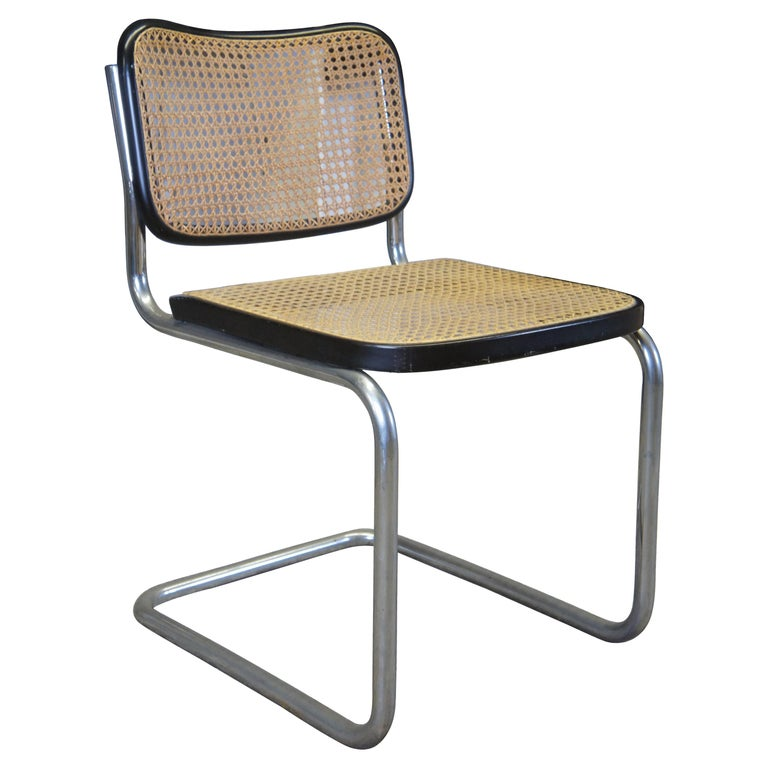 Marcel Breuer Cesca Stendig Mid Century Italian Caned Chrome Side Chair Thonet For Sale