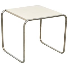 Marcel Breuer Coffee Table White Wood and Steel, circa 1960
