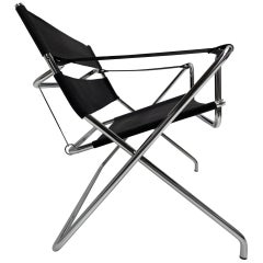 Marcel Breuer D4 Folding Chair Tecta Germany Black Canvas, Chromed Tubular Metal
