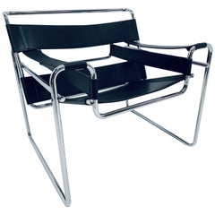 "Marcel Breuer Design Style Black Leather ""Wassily"" Chair"