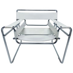 "Marcel Breuer Design Style White Leather ""Wassily"" Chair"