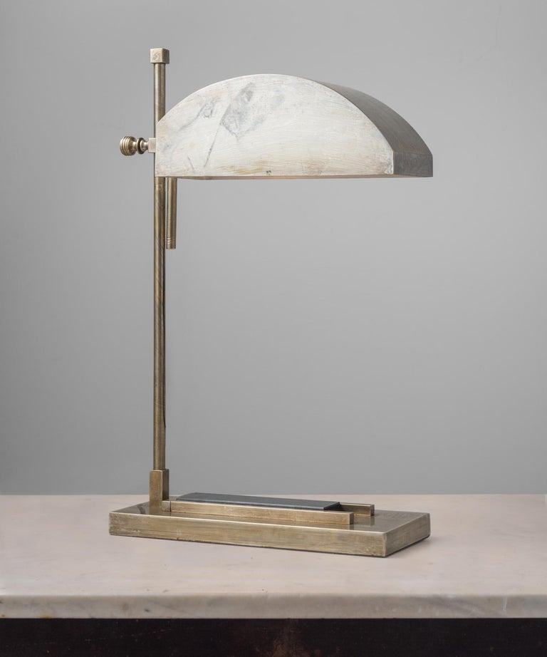 Marcel Breuer Desk Lamp, Germany, circa 1925  Created for the International Exposition of Modern Industrial and Decorative Arts in Paris. Brass-plated nickel and stamped