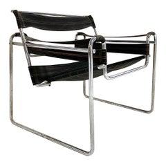 """Marcel Breuer Early Canvas Model B3 """"Wassily"""" Chair, Black Eisengarn"""