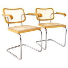 Marcel Breuer for Stendig B64 Style MCM Chrome and Cane Dining Chair, Pair