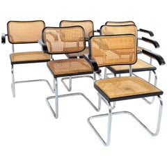 Marcel Breuer for Stendig Mid Century Ebonized and Cane Back Dining Chairs, Set