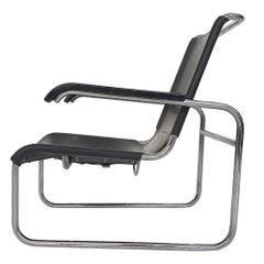 Marcel Breuer for Thonet Model S 35 Black Leather Tubular Lounge Chair, Germany