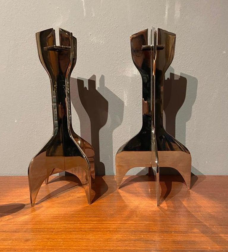 Mid-Century Modern Marcel Breuer Italian Midcentury Metal Candle Holders for Gavina, 1980s For Sale