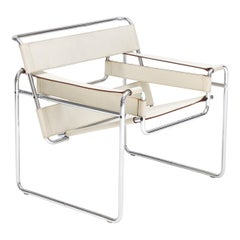 Marcel Breuer Ivory-Colored 'Wassily' Chair, Gavina, 1960s 'Authentic, Stamped'