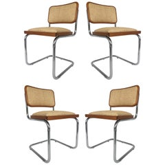 Marcel Breuer Knoll Chrome Cesca Chairs Upholstered in Raffia, Set of Four