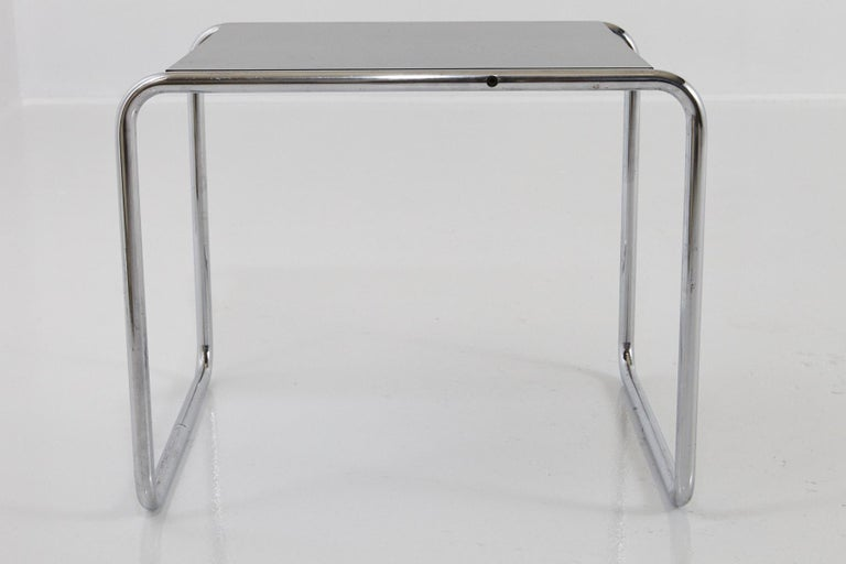 Marcel Breuer - Laccio Side Table Black Laminated Top with Tubular Chromed Base For Sale 2